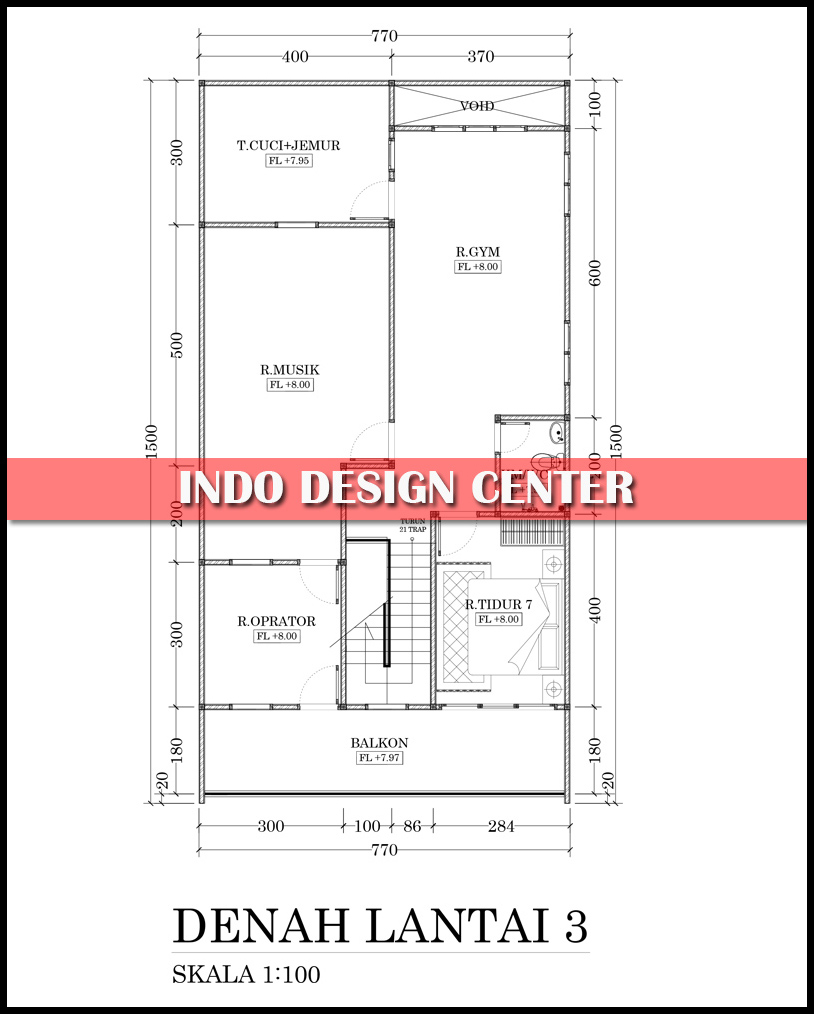 Denah Rumah Minimalis 3 Lantai Ukuran 77 X 15 Dengan Basement